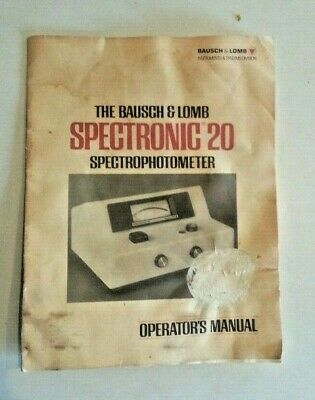Bausch Lomb Spectronic 20 Spectrometer Operators Manual Guide