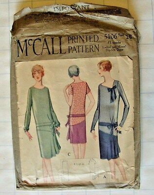 RARE VTG ANTIQUE 1920s DRESS McCALL #5106 SEWING PATTERN Size 16 yr