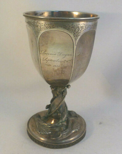 American Coin Silver Dated 1856 Figural Large Goblet- 6 5/8""