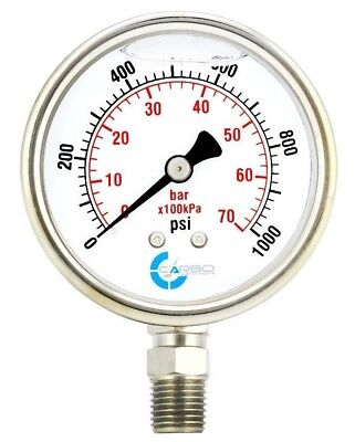 2-12 Pressure Gauge Stainless Steel Case Liquid Filled Lower Mnt 1000 Psi
