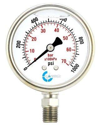 2.5 Liquid Filled Pressure Gauge 0-1000 Psi Stainless Steel Case Lower Mount