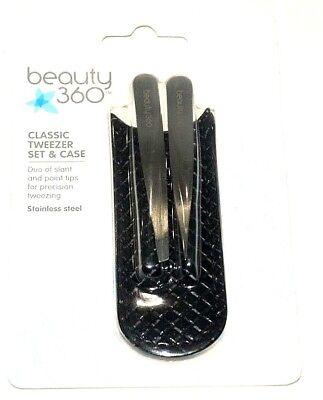 (LOT OF 12) Beauty 360 Classic Mini Tweezers Set Slant & Point Stainless Steel Classic Stainless Steel Tweezers