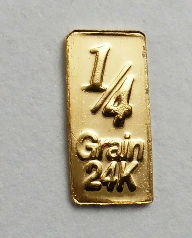 1/60TH GRAM GOLD PURE 24K 3MM X 6MM FRACTIONAL GOLD 999 FINE BULLION BAR C30C