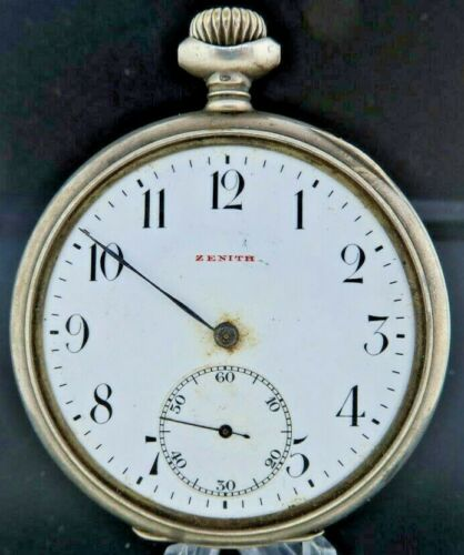 Antique Zenith Manual Wind Pocket Watch Swiss High Grade with .800 Silver Case
