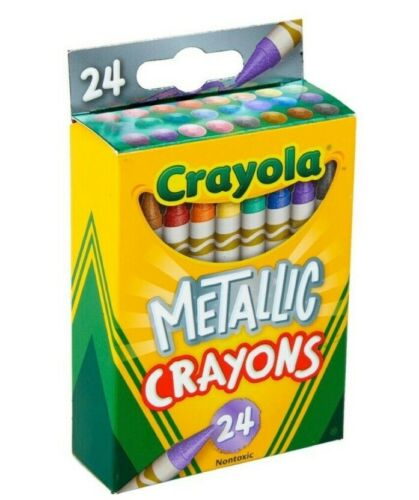 NEW Crayola boxed Metallic Crayons 24 Count Pack - Nontoxic/ Coloring - Discount