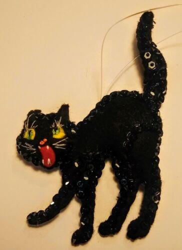 Handmade Beistle Vintage Black Cat  Halloween Ornament