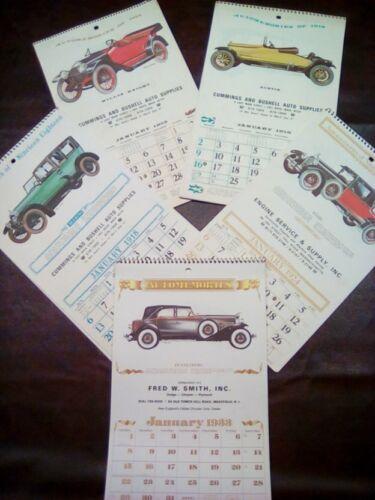 RARE!! VINTAGE Antique Car Calendars 1915, 1916, 1918, 1924, 1933, 1968 Lot of 6