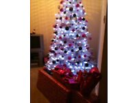 Beautiful 7 feet white Christmas tree and accessories