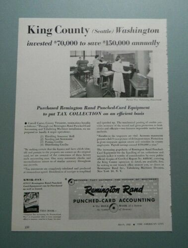 "1945 REMINGTON RAND PUNCHED-CARD ACCOUNTING ""KING COUNTY (SEATTLE)"" SALES ART AD"