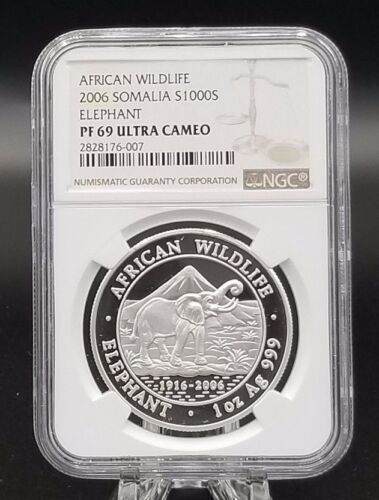 2006 Somalia 1oz Silver Elephant Proof PF69 NGC