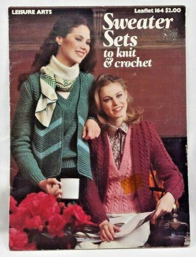 1980 VTG Sweater Sets To Knit & Crochet Pattern Book 4 Sets Women Wardrobe 7003F