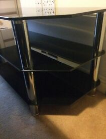Large Black Glass & Chrome TV Table
