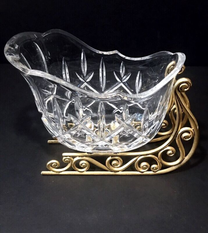 Vintage Gorham Crystal Sleigh Candy Dish Centerpiece Sled 90s Christmas Winter
