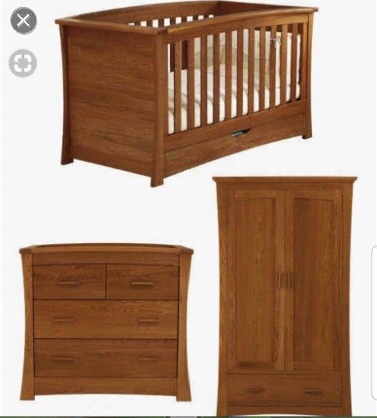 Solid Dark Oak Ocean Mamas And Papas Nursery Furniture Set