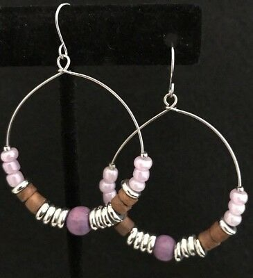 Designer Wood Earrings - Designer STATEMENT Earrings Silver Purple Wood Glass Beads Premier Urban Chic 4D