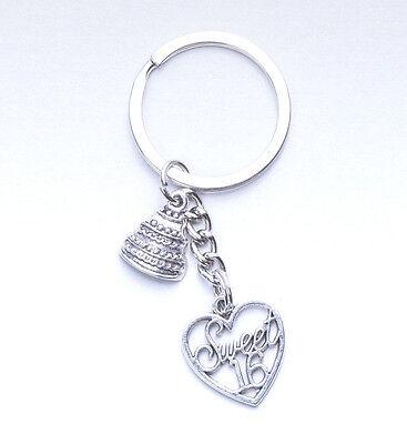 Sweet 16 Souvenirs (Sweet 16 Silvertone Heart Cake Party Birthday Keychain Key Favors)