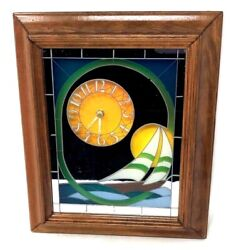 VINTAGE 1980s STAINED GLASS MIRROR QUARTZ CLOCK SAILBOAT HOBE SUNSET WALL ART