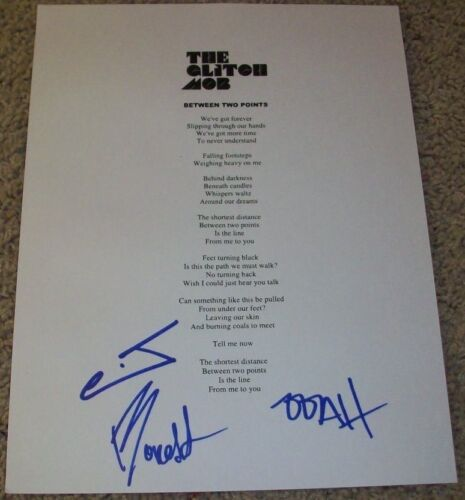 THE GLITCH MOB BAND SIGNED AUTOGRAPH BETWEEN TWO POINTS LYRIC SHEET w/PROOF