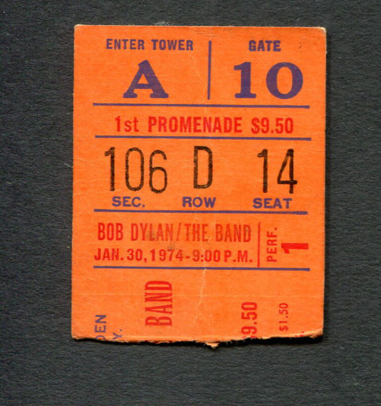 1974 Bob Dylan The Band concert ticket stub Madison Square Garden NY 01/30