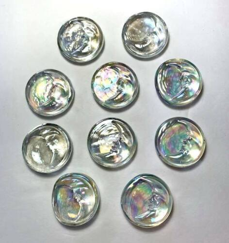 """Set of 10 Glass Crescent """"Man in the Moon Face"""" Mystic Moon Carbochon Gems Clear"""