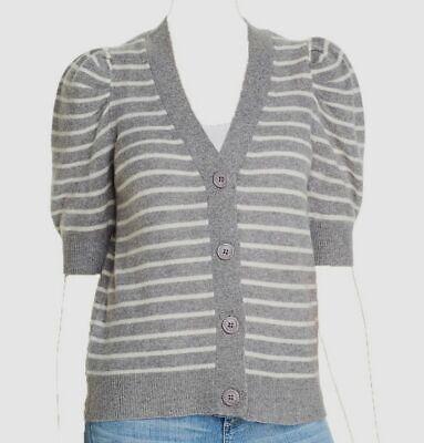 $499 C by Bloomingdale's Womens Gray Puff-Sleeve Cashmere Cardigan Sweatshirt XS