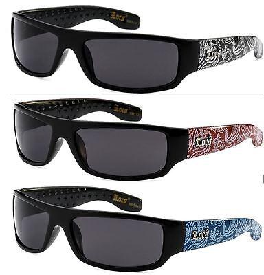 LOCS Original Gangsta Bandana Shades Sunglasses Eyewear (Red Blue Silver) (Original Eyewear)
