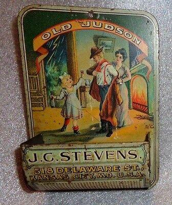 Antique tin litho match holder advertising Old Judson Whiskey