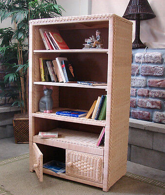 Large Natural Wicker - Natural Wicker 5 Shelf Large Storage Cabinet/Bookcase
