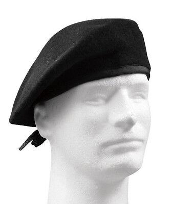 military style black gi type beret no flash wool rothco 4718 - Flash Hat