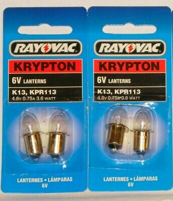 Krypton 6v Lantern Bulbs 4.8V 0.75A 3.6W - 4D Cell Flashlight - 4 bulbs