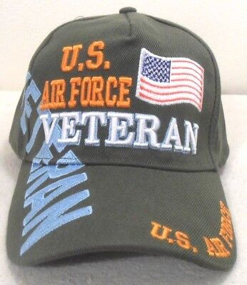 MILITARY CAP HAT U.S. AIR FORCE VETERAN HAT OLIVE GREEN WITH SHADOW Military Cap Olive