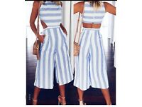 Striped blue and white cut out jumpsuit