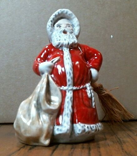 Vintage Goebel Porcelain Santa With Broom Figurine, #51039, NEW OLD STOCK
