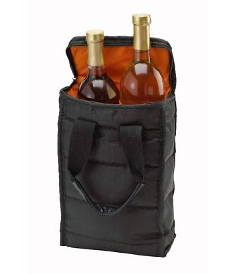 Wine Carrying Case Tote Bag Travel 2 Bottle Carrier Insulated Durable Zipper Bag