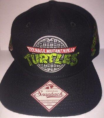 New Teenage Mutant Ninja Turtles Sewer Logo Snapback Hat Black ()
