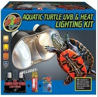 ZOO MED AQUATIC TURTLE UVB HEAT LIGHTING KIT Deep Dome