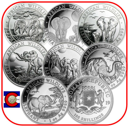 2013 2014 2015 2016 2017 2018 2019 Parade of Somalia Elephants 7 Silver Coins