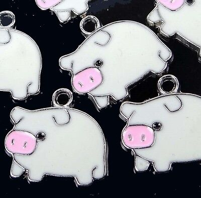 6 Enamel Lucky Pig Pendant Charm 18x20mm  - White / Mint Cream