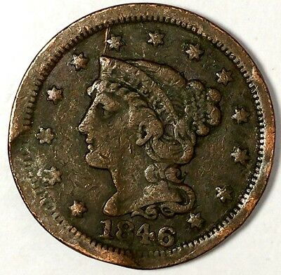 1846-P 1C Braided Hair Large Cent 18act0831 $1 Shipping