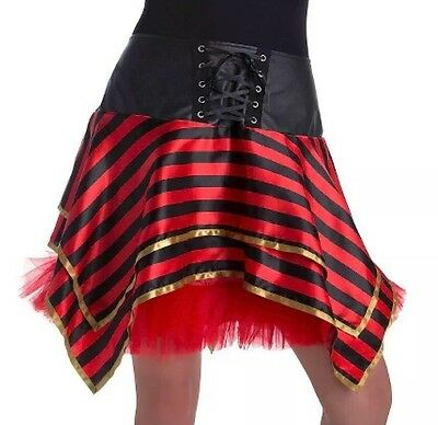 Pirat Tutu (NWT Women's Pirate Tutu Striped One Size Fits Most Black Red Halloween Dress Up)