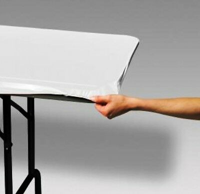 12 WHITE STAY-PUT 8 FT X 30 IN  FITTED PLASTIC TABLECLOTHS TABLE COVERS  40% OFF](8 Ft Plastic Table)