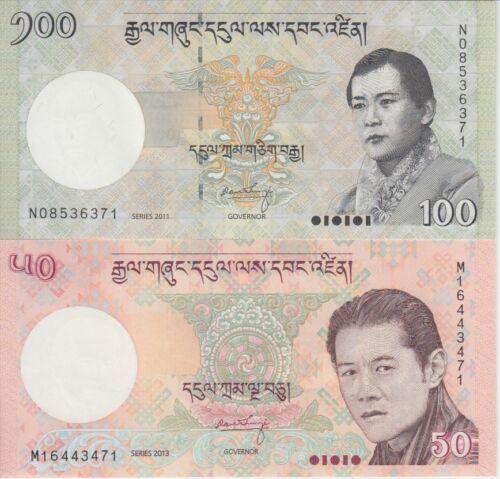 """Bhutan Banknote P31-32 50 Ngultrum 2013 & 100 Ngultrum 2011, """"The Pair"""", UNC"""