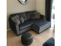 Very Littlewoods Dante Charcoal Dark Grey Velvet Reversible Corner Chaise Sofa 3 Seater