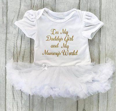 Im mein Daddys mädchen,Mummys World weiß TUTU STRAMPLER Baby mädchen Prinzessin (Mädchen Im Tutu)