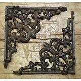 12 Cast Iron Antique Style Heart Brackets, Garden Braces Shelf Bracket