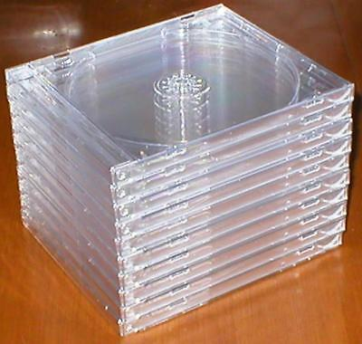 Lot of 10 New, Standard-Sized, Hard-Plastic, Clean, Empty, Clear CD Jewel Cases