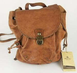 Patricia Nash Leather Backpack Distressed Tan New With Defects