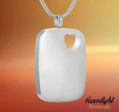 New Heart Dog Tag Crystal Cremation Urn Keepsake Ashes Memorial Necklace Crystal Dog Tag Necklace