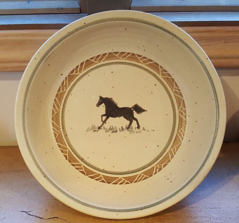 Dakota Stoneware Pottery Bushnell SD Serving Bowl Horse / Horses