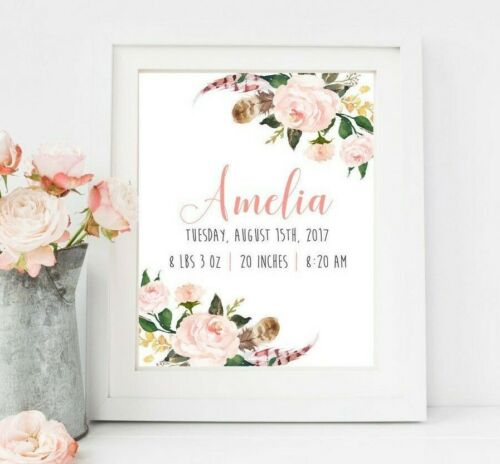 Personalised Birth Announcement Stats Print Rose Floral Girl Baby Gift Art 603-A